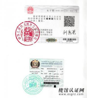 阿联酋大使馆公证认证样本