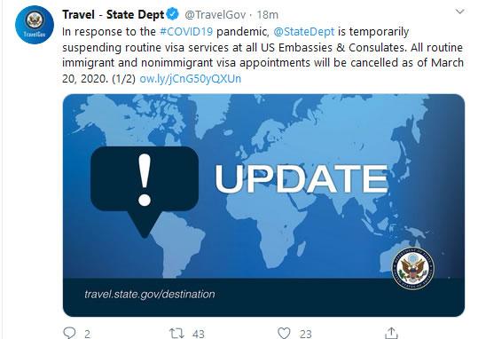 美国宣布暂停全球常规签证服务