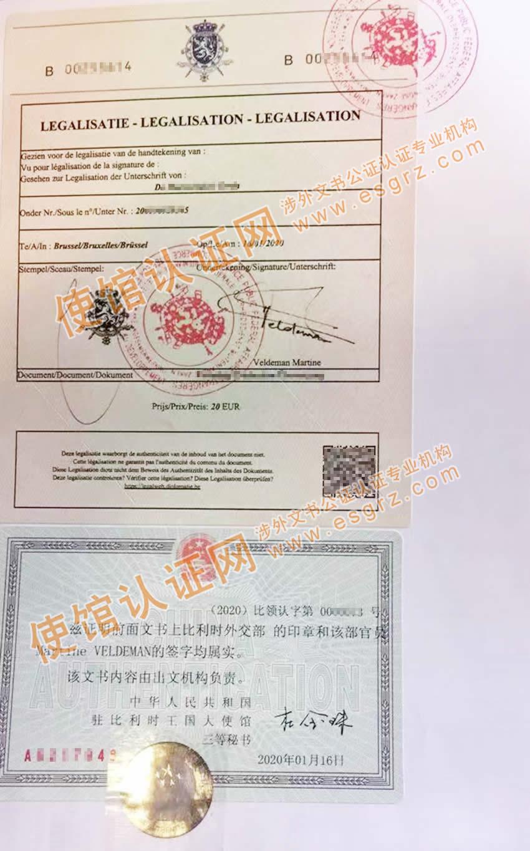比利时原产地证公证认证样本